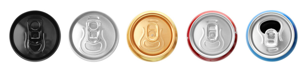 KYIV, UKRAINE - SEPTEMBER 18, 2017: Cans with drinks of different popular brands on white background