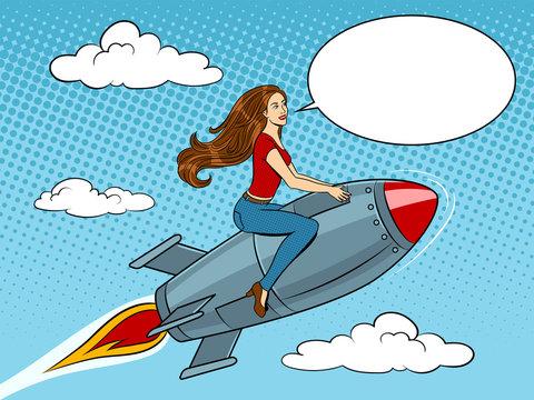 Woman flying rocket pop art style vector
