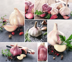 Collage with aromatic garlic bulbs