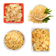 Set with dried garlic on white background
