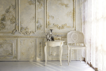 victorian liveing room in morning light background