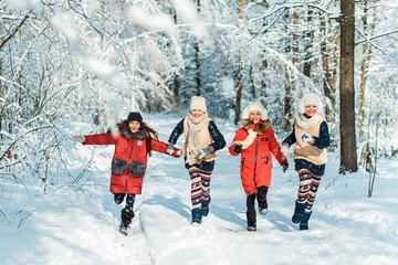 Beautiful teenage girls having fun outside in a wood with snow in winter on a wonderful frosty sunny day. Friendship and active life consept
