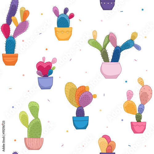 Bright Colorful Cacti Potted Plants Seamless Pattern Texture
