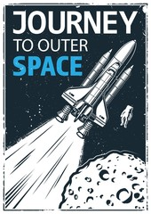 Vintage poster with shuttle