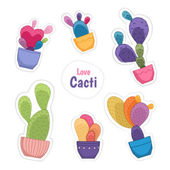 Colorful bright cacti potted flowers doodle sticker badge patch collection set isolated on white background. Cartoon style drawing different colors. Various cactus plant species. Vector illustration.
