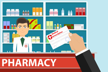 The hand holds a medical prescription. The hand gives a medical prescription to the pharmacist.