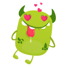 Funny cartoon green monster in love showing tongue. Vector illustration of cute monster for St.Valentine's Day
