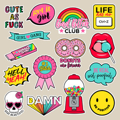 Set of girls fashion patches, cute cartoon badges, fun stickers design vector for teenage girls.