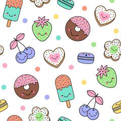 Cute Pastel Unicorn Rainbow And Dessert Seamless Pattern
