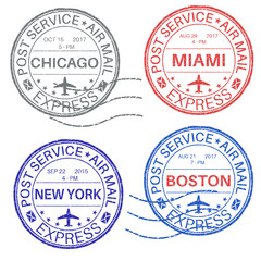 Postmarks. Collection of ink stamps