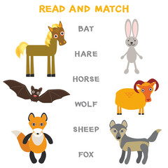 Kids words learning game worksheet read and match. Funny animals bat hare horse wolf sheep fox Educational Game for Preschool Children Picture puzzle. Vector
