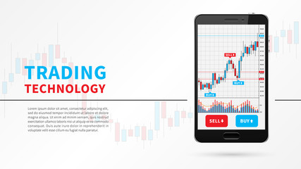 Forex trading candlestick chart on mobile screen vector illustration. Stock exchange market graph on smartphone creative concept. Stock trading technology graphic design.