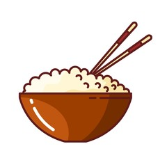 Colored picture of rice in a clay bowl with chopsticks. Vector illustration of Japanese food on white background