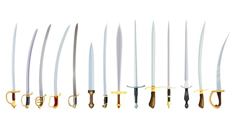 Vector illustration of an old weapon on a white background. Vintage swords with hilts, color image of bladed weapons
