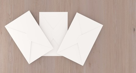 3D Rendering Of Realistic Mail Letters On Wooden Surface