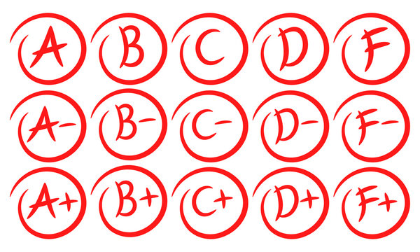 Grade results. Hand drawn grades with circles. Success. Pass the exam. Fall the exam. Vector set