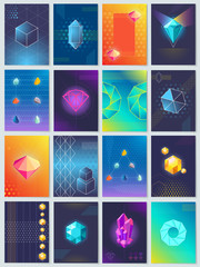Abstract Geometric Shapes and Shiny Crystals Set