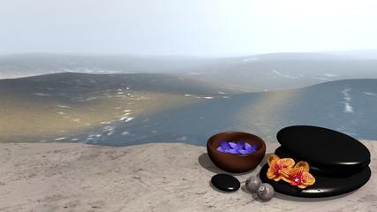 Meer mit Sandstrand, auf dem eine Schale mit Blüten, ein Steinhaufen aus Bimssteinen, Chinesische Qi Gong-Kugeln und Orchideenblüten. 3d render