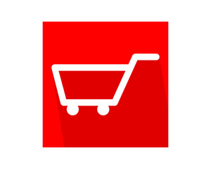 red trolley cart carry carriage image vector icon logo