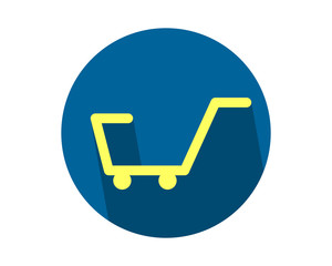 blue circle trolley cart carry carriage image vector icon logo