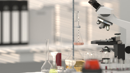 laboratory equipment laboratories microscope with lab glassware lab, scientist 3d rendering development research background