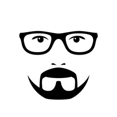 Man face with glasses and beard. Photo props. Vector