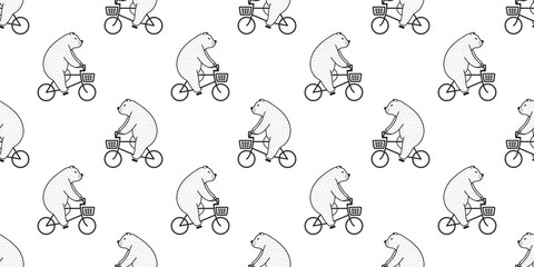 Bear seamless pattern vector Polar Bear riding bicycle isolated wallpaper background