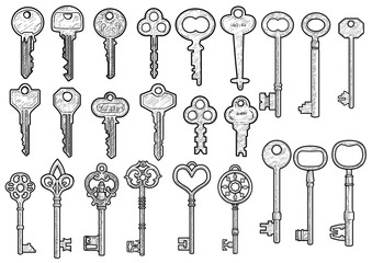 Key illustration, drawing, engraving, ink, line art, vector