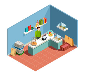 Pet Shop Isometric Composition