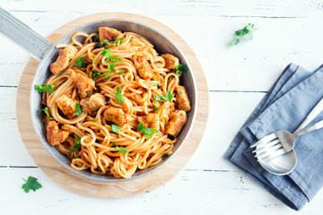 Chicken spaghetti pasta with tomato sauce