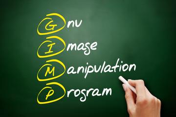 GIMP - Gnu Image Manipulation Program acronym, concept on blackboard