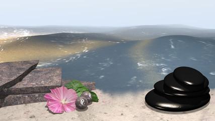 Meer mit Sandstrand auf dem an Bruchsteinen eine rosa Blüte mit Orangenblatt und chinesische Qi Gong-Kugeln liegen. Daneben steht ein Steinhaufen aus Bimssteinen. 3d render