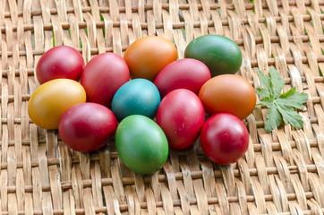 Closeup beauty paint Easter eggs on wicker table, Sofia, Bulgaria
