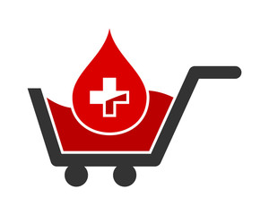 blood medical trolley cart carry carriage image vector icon logo