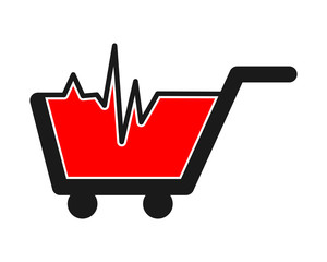 heart rate trolley cart carry carriage image vector icon logo