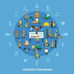 Construction Worker Colored Composition