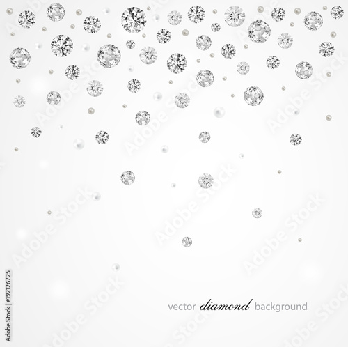 Brilliant vector snowfall  Abstract background with diamonds and