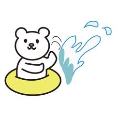 シロクマの水遊び