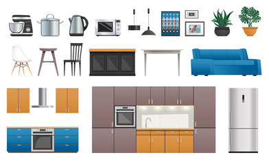 Kitchen Interior Elements Icons Set