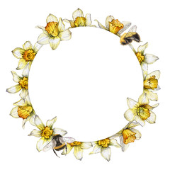 hand painted watercolor round frame made from the flowers of Narcissus and bees