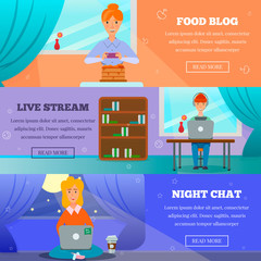 Bloggers Characters Topics Flat Banners