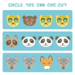Visual logic puzzle Circle the odd one out. Kawaii animals fox raccoon panda bear wolf dog leopard, pastel colors on blue background. Vector
