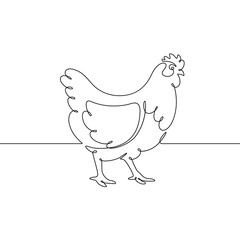Vector drawing of a chicken, drawn with a continuous line