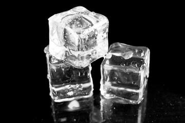 ice cubes on black background.