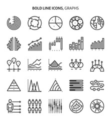 Graphs, bold line icons