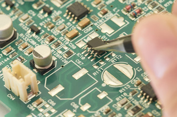 Electronic circuit board, PCB (Printed circuit board) with processor, microchips and glowing digital electronic signals