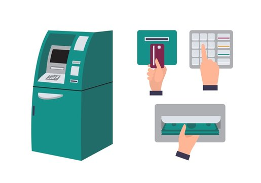 Automated teller machine and hand inserting credit card into ATM slot, entering pin code and taking banknotes or cash. Money withdrawal or financial transaction set. Flat cartoon vector illustration.