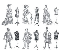 Ladies and Gentlemen body vintage mannequin set. Vintage tailor's dummy for body and Antique dressed men and women. Fashion and clothes. Human figure collection Retro Illustration, engraving style