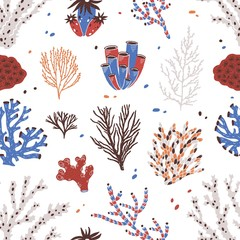 Wall Mural - Seamless pattern with various corals and seaweed or algae on white background. Backdrop with beautiful underwater species, deep sea creatures. Hand drawn colorful vector illustration for textile print