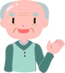 優しい禿げたおじいさん 案内する